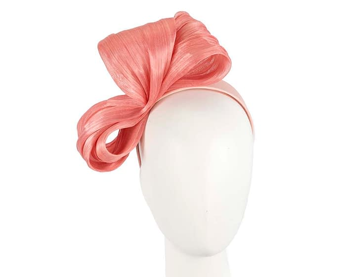 Large coral bow racing fascinator by Fillies Collection Fascinators.com.au