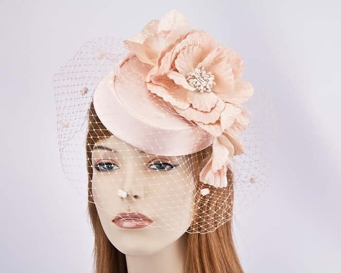 Peach pillbox with flowers and veil K5015PE Fascinators.com.au