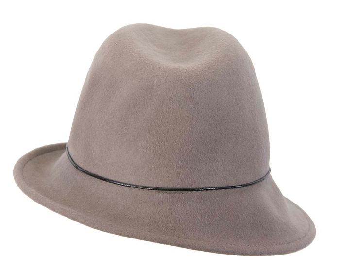 Grey winter felt trilby hat Fascinators.com.au