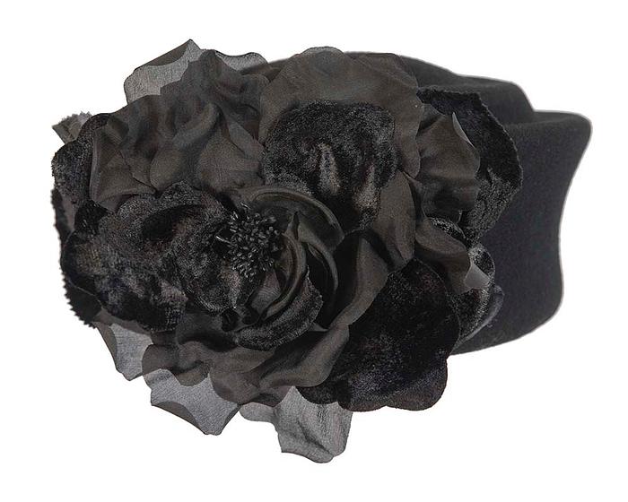 Large black pillbox hat with rose flower F593B Fascinators.com.au