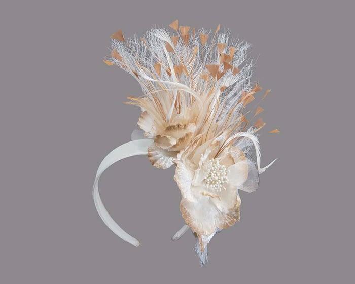 Cream & natural feather flower racing fascinator Fascinators.com.au