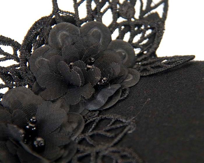 Black lace pillbox winter fascinator Fascinators.com.au