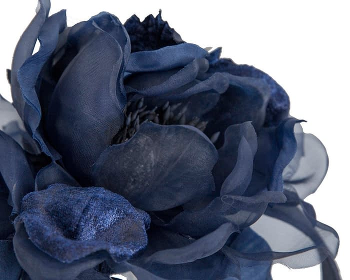 Large navy flower headband fascinator by Fillies Collection Fascinators.com.au