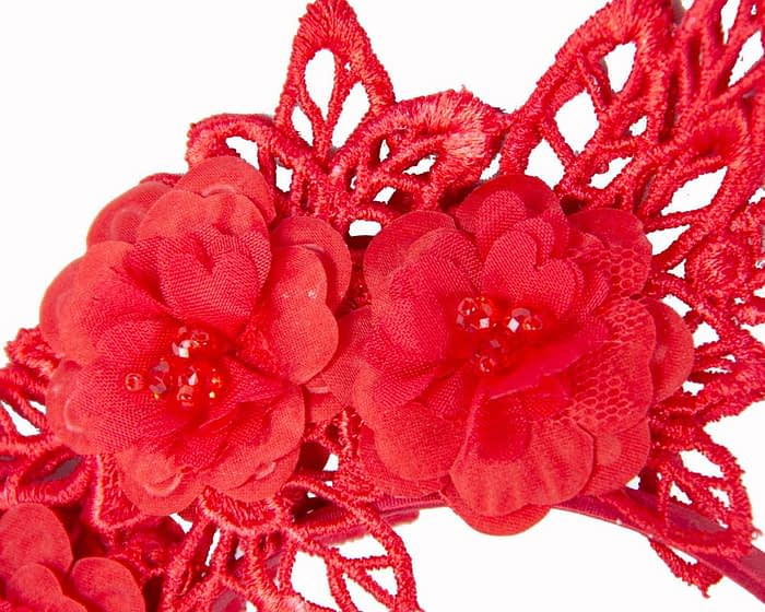 Red lace crown fascinator Fascinators.com.au