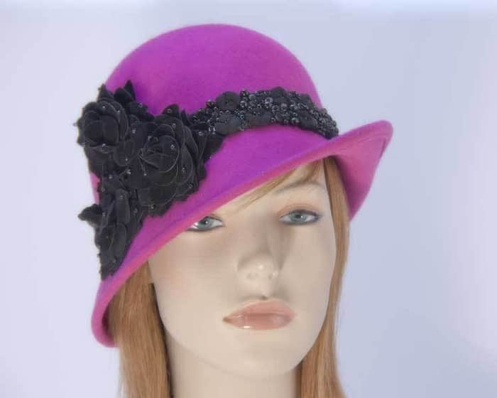 Fuchsia felt laies bucket hat F573F Fascinators.com.au