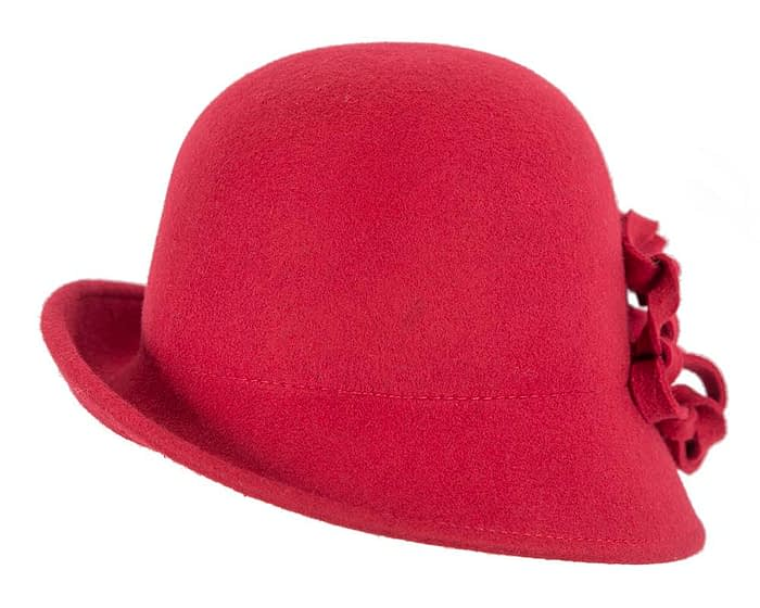 Red felt cloche hat with original trim Fascinators.com.au
