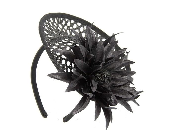Black plate with large flower fascinator Fascinators.com.au