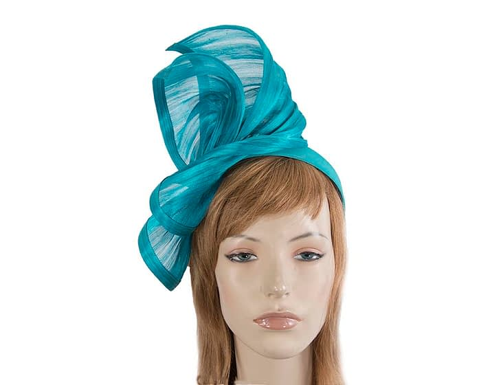Twisted aqua silk abaca fascinator by Fillies Collection Fascinators.com.au