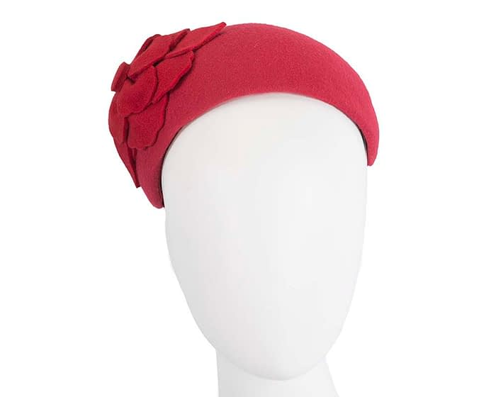 Red puffy band winter fascinator by Max Alexander Fascinators.com.au