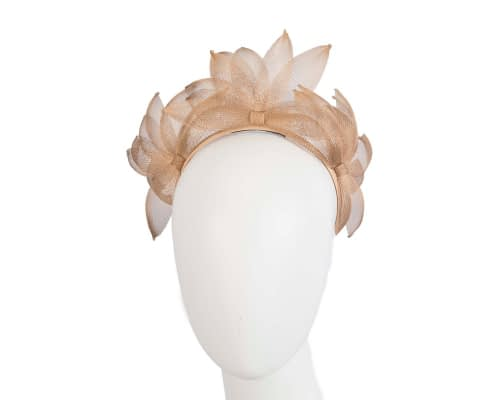 Gold crinoline crown racing fascinator Fascinators.com.au