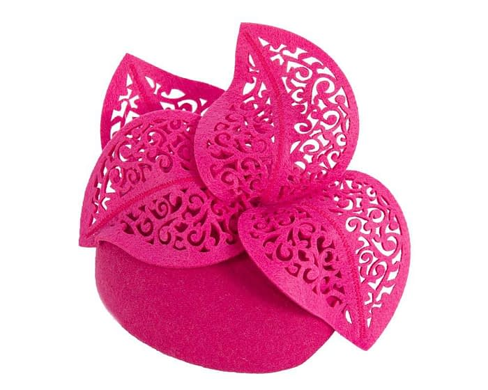 Fuchsia pillbox with laser cut trim Fascinators.com.au