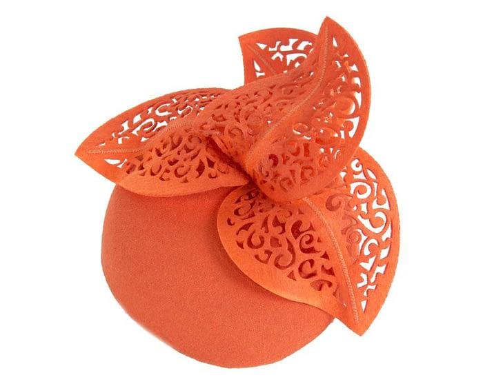 Orange pillbox with laser cut trim Fascinators.com.au
