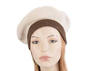 Warm nude and brown woolen embroidered European Made beret Fascinators.com.au