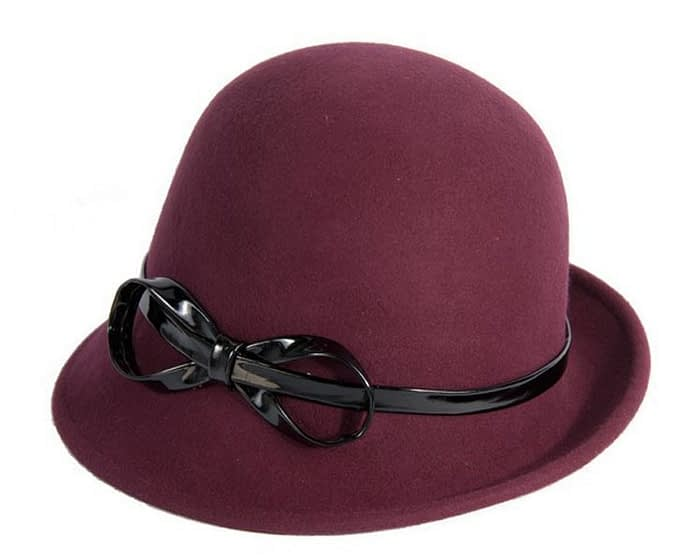 Burgundy felt cloche hat Fascinators.com.au