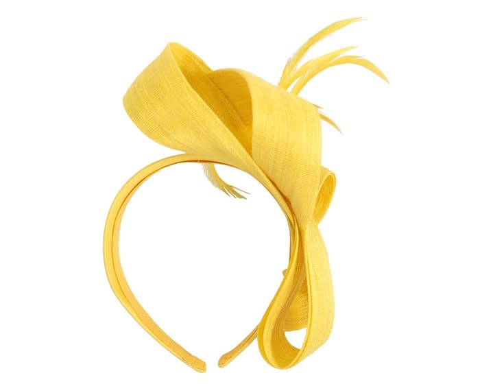 Yellow loops & feathers racing fascinator by Fillies Collection Fascinators.com.au