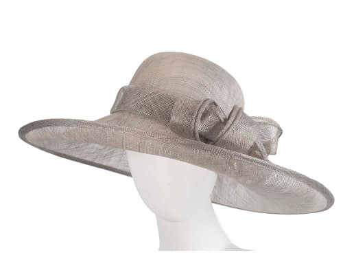 Wide brim silver sinamay racing hat by Max Alexander Fascinators.com.au