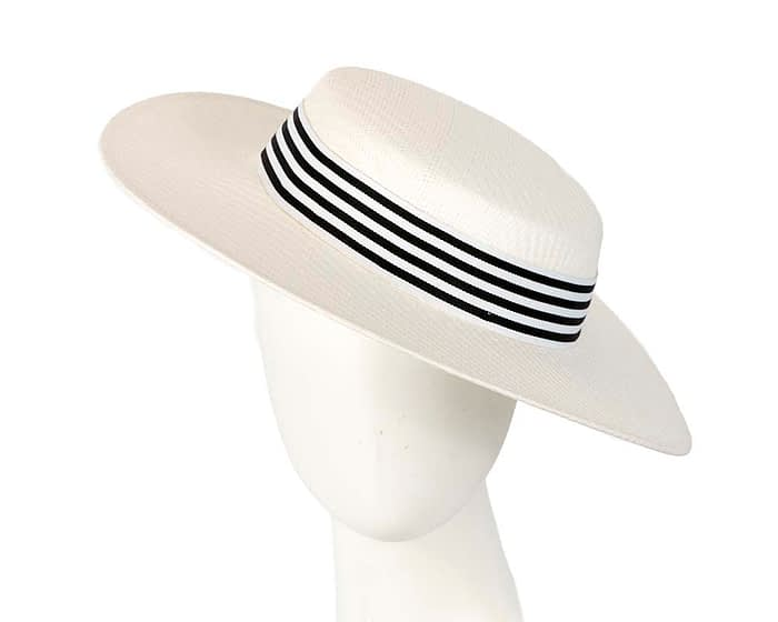 White and black boater hat by Max Alexander Fascinators.com.au