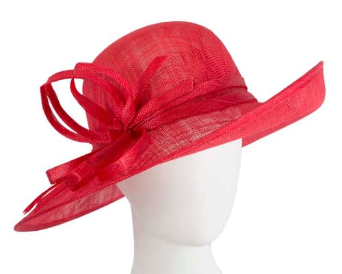 Wide brim red racing hat by Max Alexander Fascinators.com.au