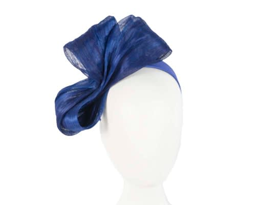 Large royal blue bow racing fascinator by Fillies Collection Fascinators.com.au