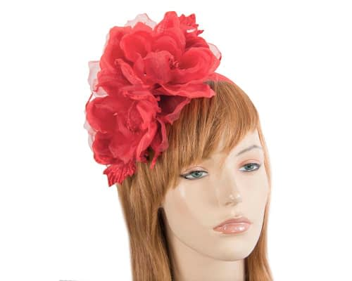 Large red flower headband fascinator by Fillies Collection Fascinators.com.au