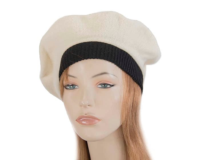 Warm cream and black woolen embroidered European Made beret Fascinators.com.au