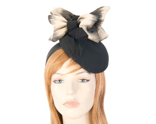 Black cream winter pillbox for racing Fascinators.com.au