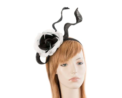 Edgy black & white fascinator with flower Fascinators.com.au