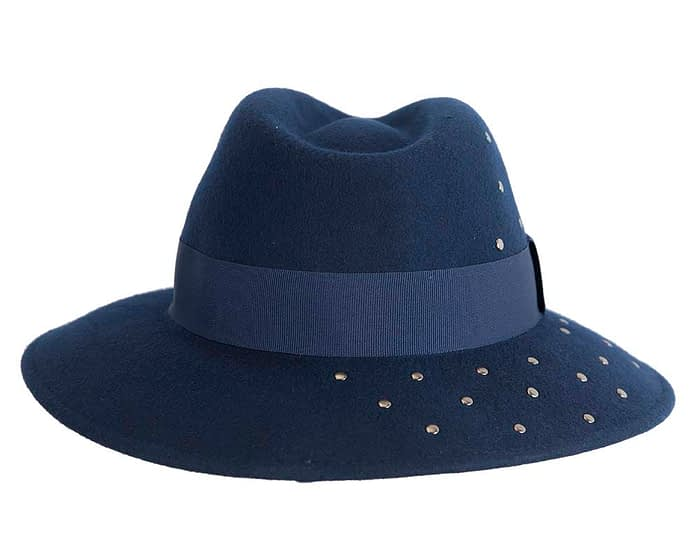 Wide brim navy felt fedora with studs by Max Alexander Fascinators.com.au