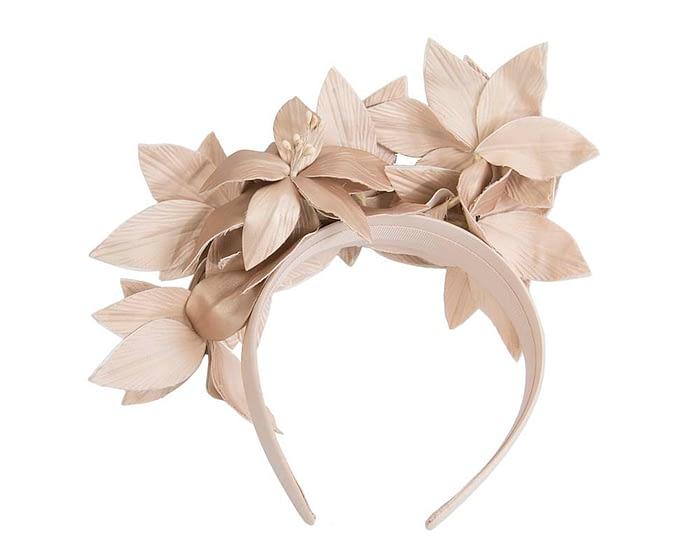 Gold leather flower headband fascinator Fascinators.com.au
