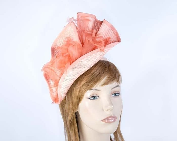 Structured coral fascinator Fascinators.com.au