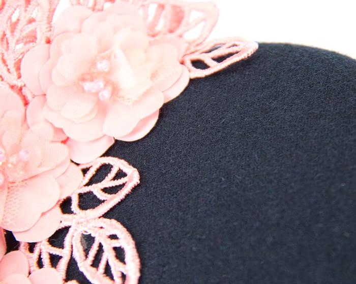 Navy & pink lace winter pillbox fascinator Fascinators.com.au