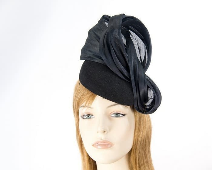 Black racing winter pillbox with bow Fascinators.com.au