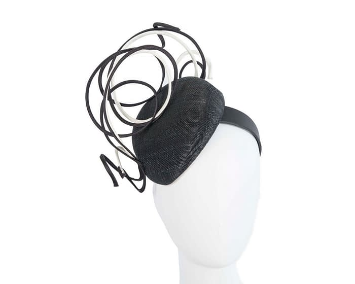Bespoke black & white wire loops pillbox racing fascinator by Fillies Collection Fascinators.com.au