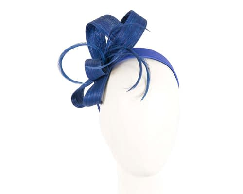 Royal blue loops and feathers racing fascinator by Fillies Collection Fascinators.com.au