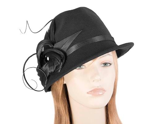 Black ladies felt trilby hat by Fillies Collection Fascinators.com.au