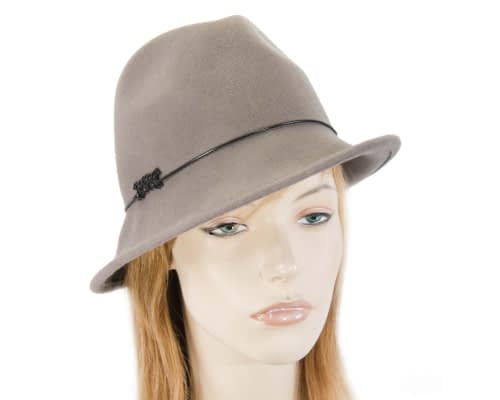 Grey winter felt trilby hat Fascinators.com.au