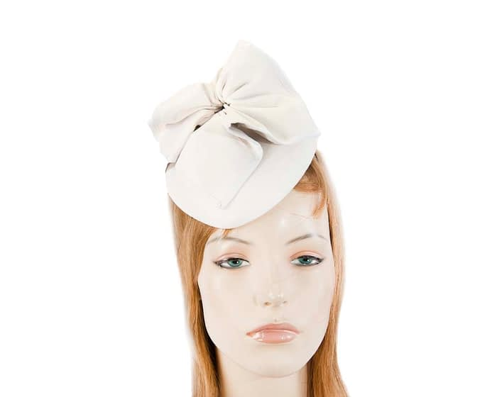 White leather pillbox racing fascinator Fascinators.com.au