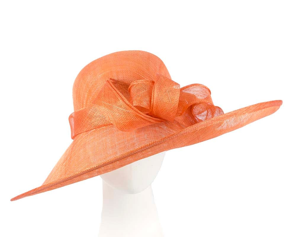 Wide brim orange sinamay racing hat by Max Alexander Fascinators.com.au