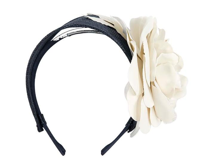 Navy and cream leather flower headband racing fascinator Fascinators.com.au