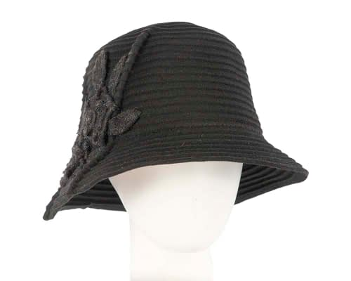 Soft black felt bucket hat Fascinators.com.au