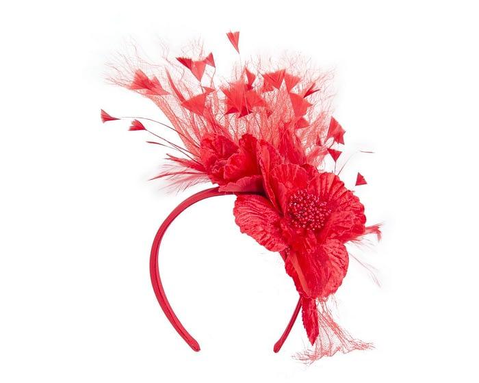 Red feather flower racing fascinator Fascinators.com.au