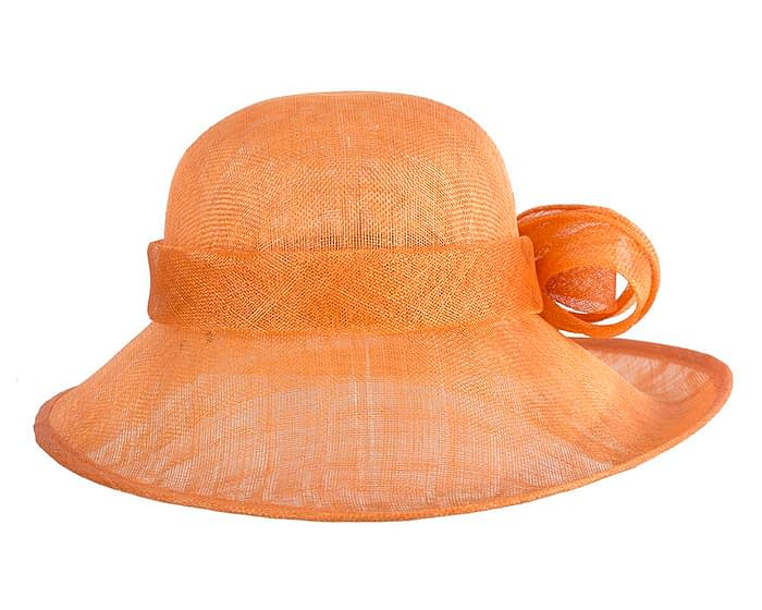 Wide brim orange sinamay racing hat by Max Alexander Fascinators.com.au