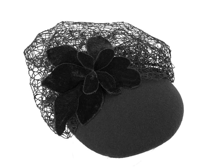 Large black winter racing fascinator beret Fascinators.com.au