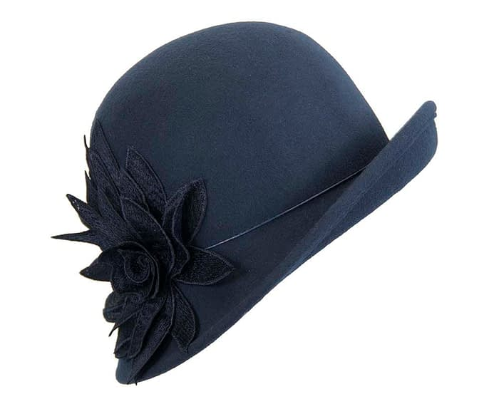 Navy winter felt cloche hat with lace flower by Max Alexander Fascinators.com.au