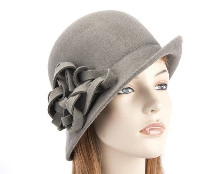 Grey felt cloche hat with original trim J300G Fascinators.com.au