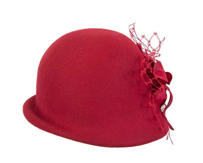 Red cloche ladies winter bucket felt hat with flower Fascinators.com.au