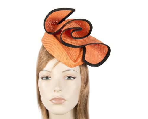 Orange & black stewardess pillbox fascinator hat Fascinators.com.au