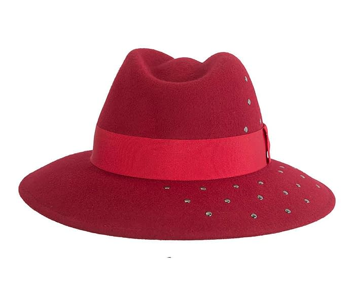 Wide brim dark red felt fedora with studs by Max Alexander Fascinators.com.au