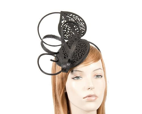 Modern black racing fascinator for Melbourne Cup by Max Alexander MA677B Fascinators.com.au