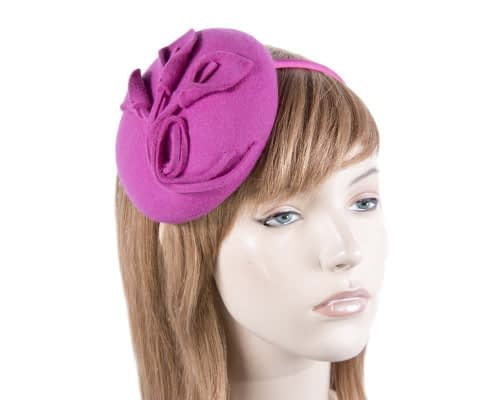 Small fuchsia felt winter pillbox Max Alexander J297F Fascinators.com.au